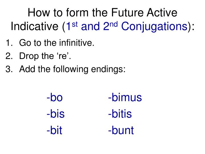 How to form the future active indicative 1 st and 2 nd conjugations