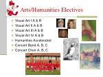 arts humanities electives