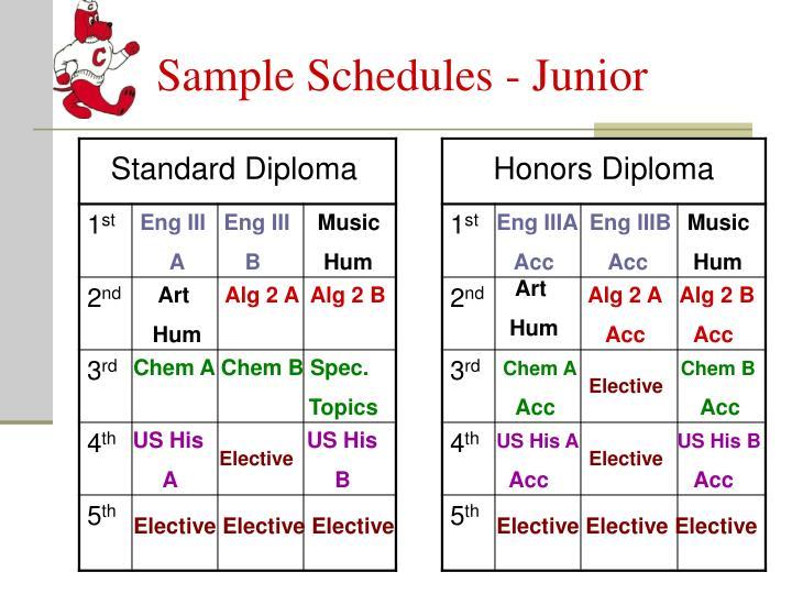 Sample Schedules - Junior