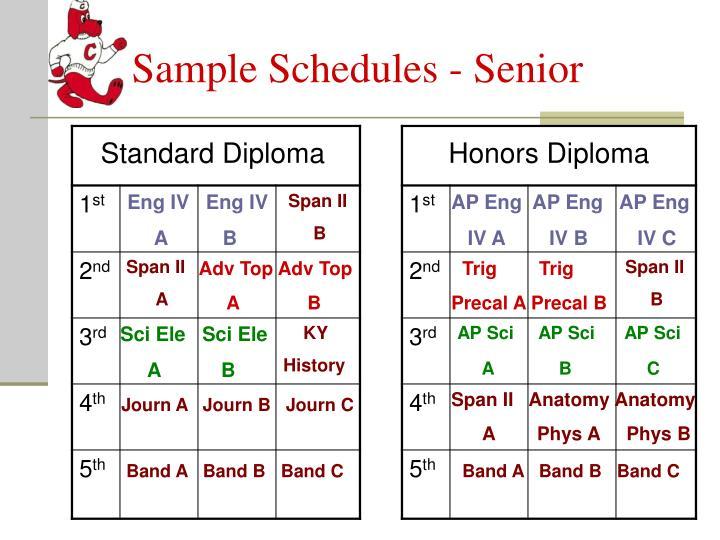 Sample Schedules - Senior