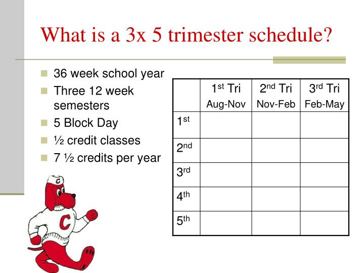 What is a 3x 5 trimester schedule?