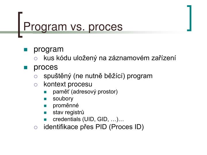 Program vs proces