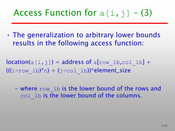 Access Function for