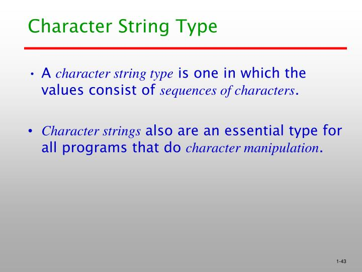 Character String Type