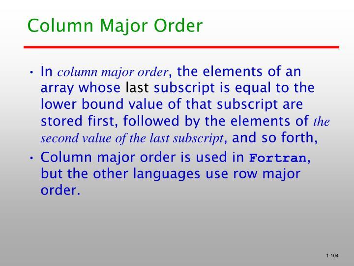 Column Major Order