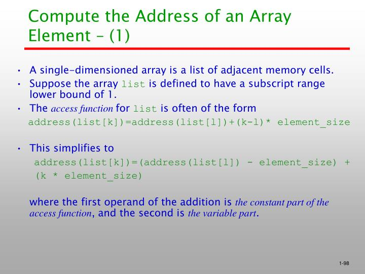 Compute the Address of an Array Element – (1)