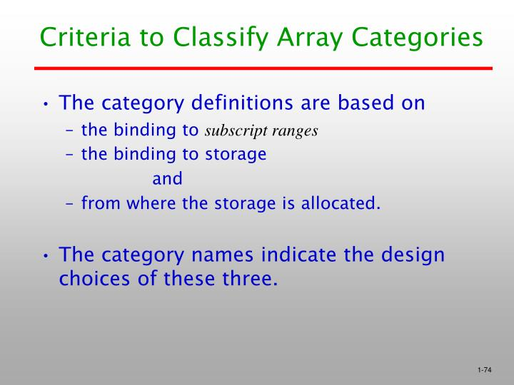 Criteria to Classify Array Categories