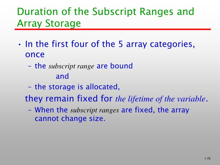 Duration of the Subscript Ranges and Array Storage