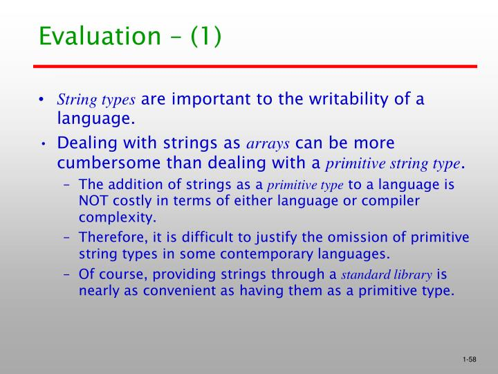 Evaluation – (1)