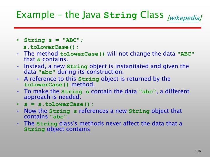 Example – the Java