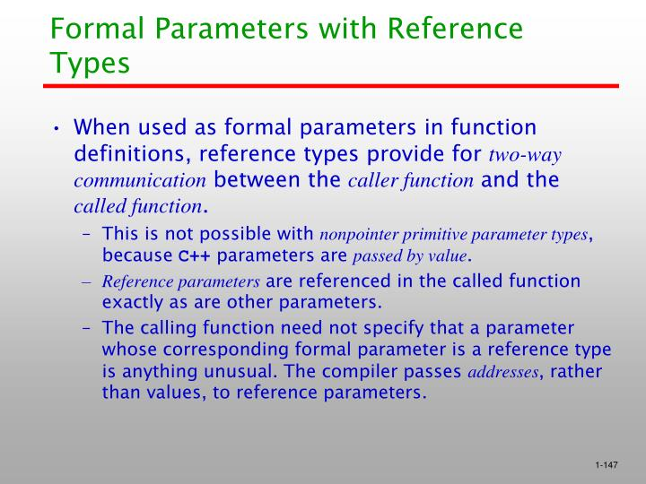 Formal Parameters with Reference Types