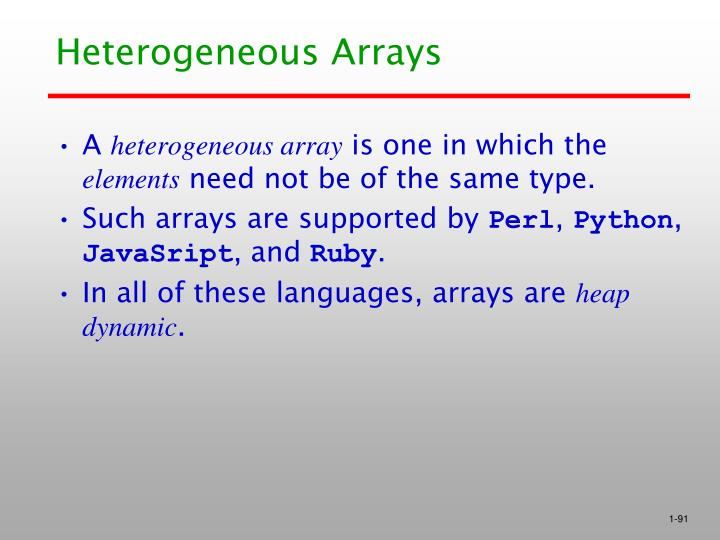 Heterogeneous Arrays