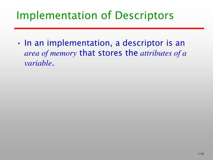 Implementation of Descriptors