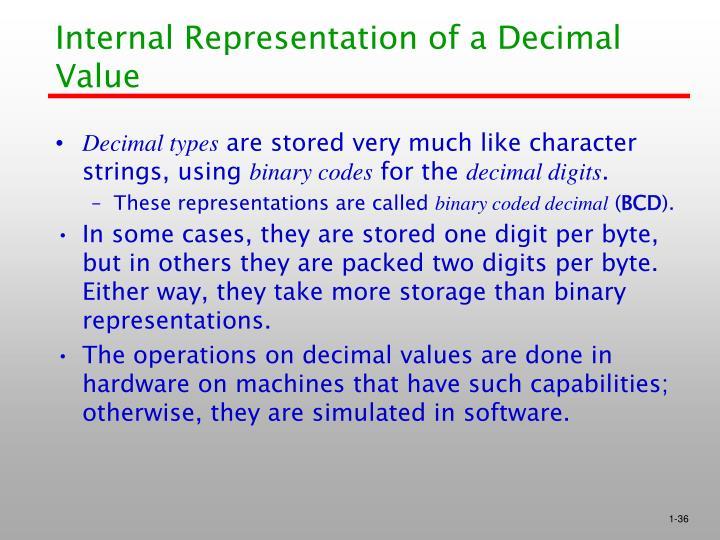 Internal Representation of a Decimal Value