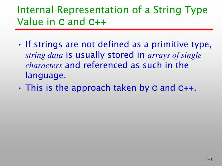 Internal Representation of a String Type Value in