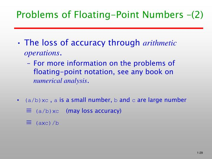 Problems of Floating-Point Numbers –(2)