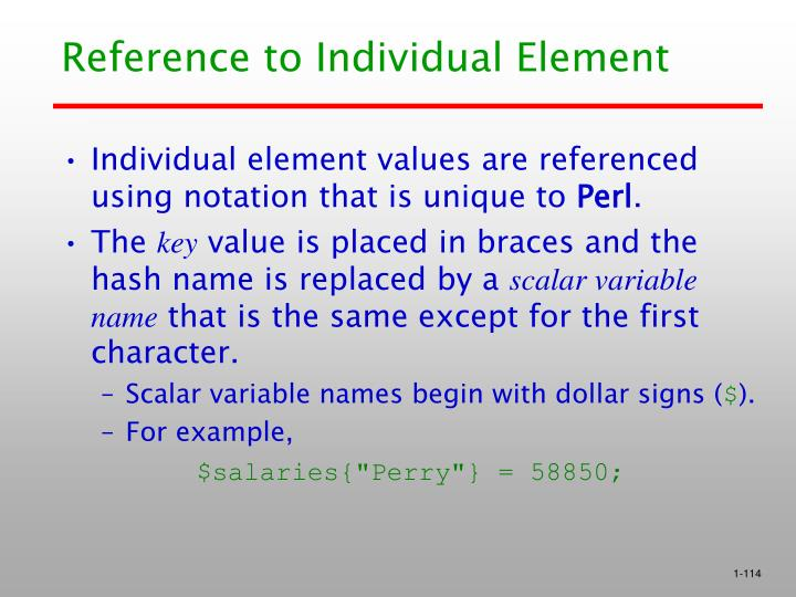 Reference to Individual Element