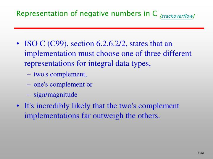 Representation of negative numbers in C