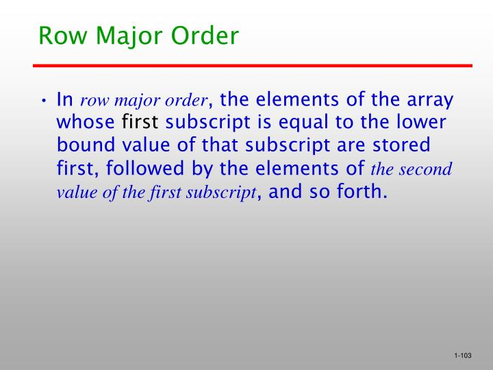 Row Major Order