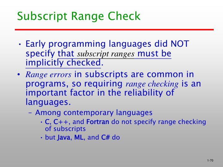 Subscript Range Check