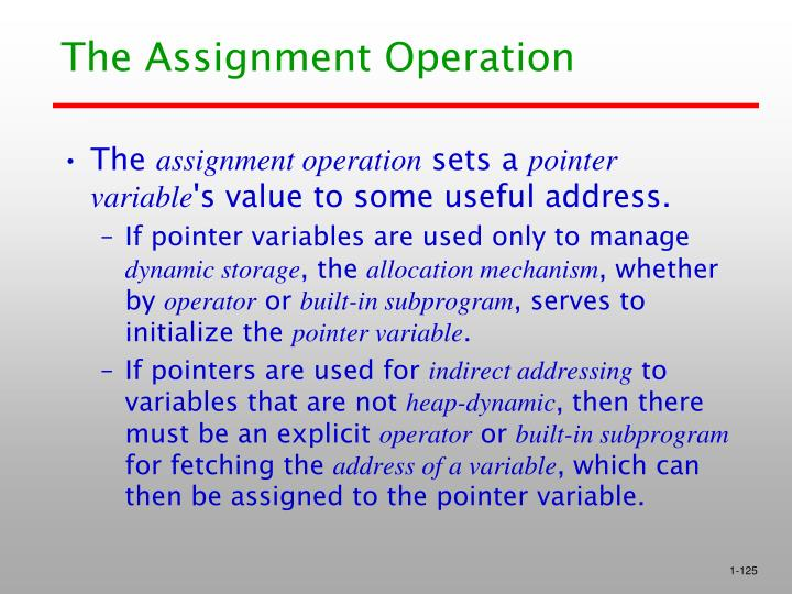 The Assignment Operation