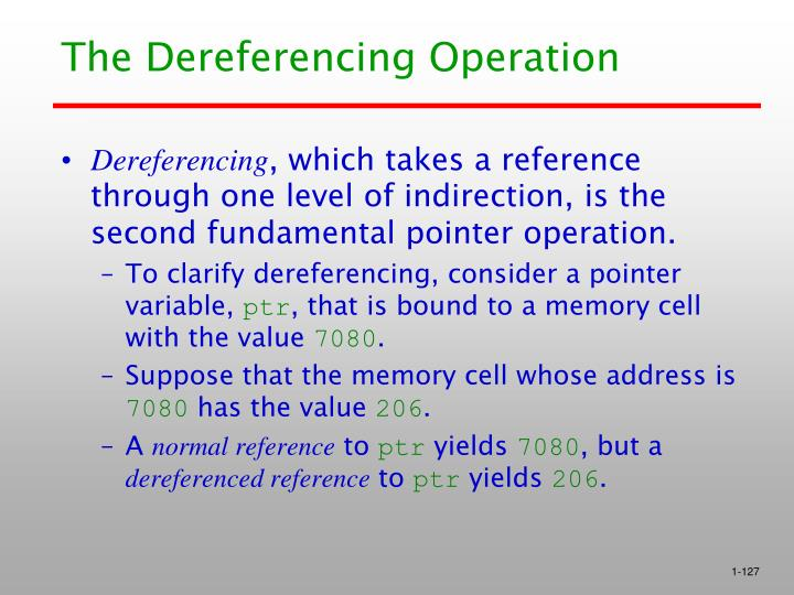 The Dereferencing Operation