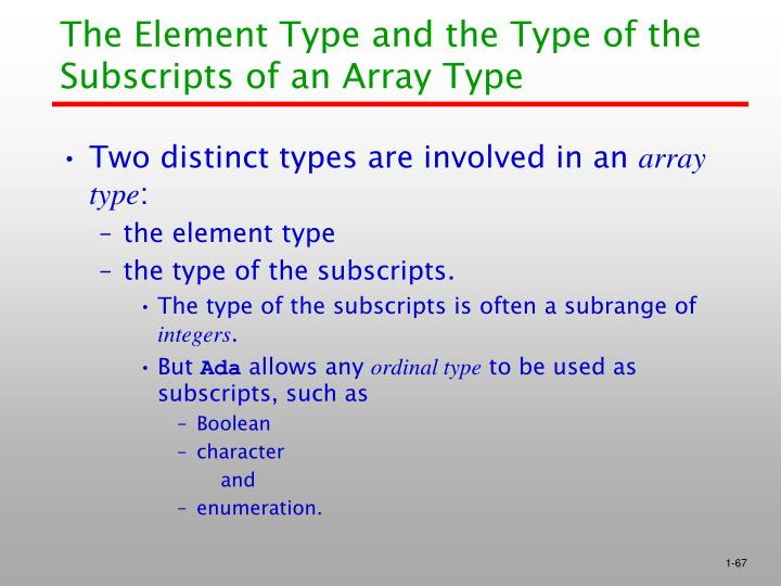 The Element Type and the Type of the Subscripts of an Array Type