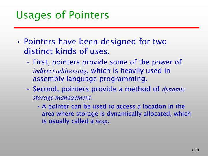Usages of Pointers