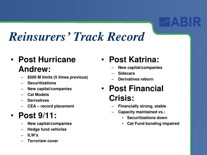 Reinsurers' Track Record