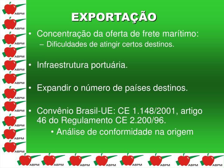 Concentração da oferta de frete marítimo:
