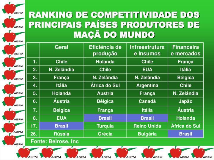 RANKING DE COMPETITIVIDADE DOS PRINCIPAIS PAÍSES PRODUTORES DE MAÇÃ DO MUNDO
