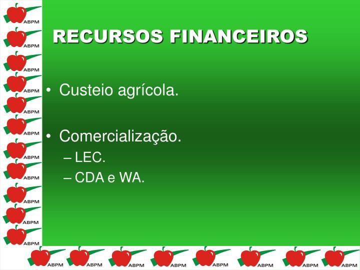 Custeio agrícola.