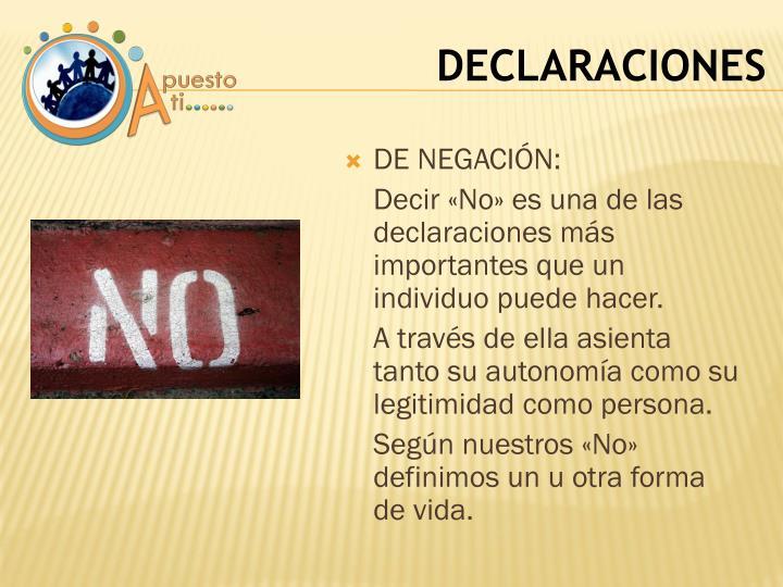 DE NEGACIÓN: