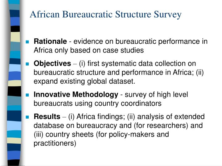 African Bureaucratic Structure Survey