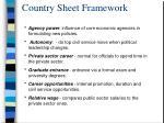 country sheet framework