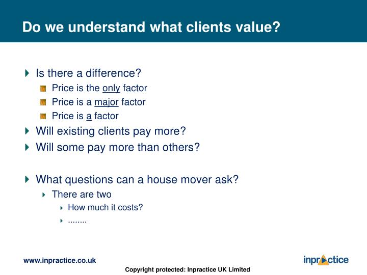 Do we understand what clients value?