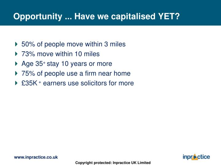 Opportunity ... Have we capitalised YET?