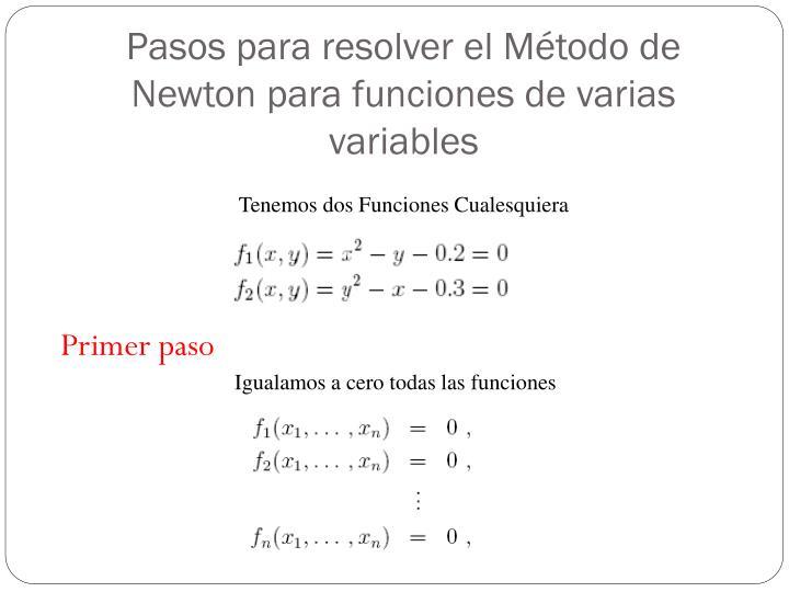 Pasos para resolver el Método de Newton para funciones de varias variables