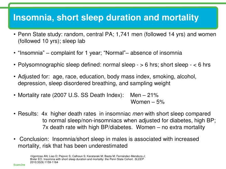 Insomnia, short sleep duration and mortality