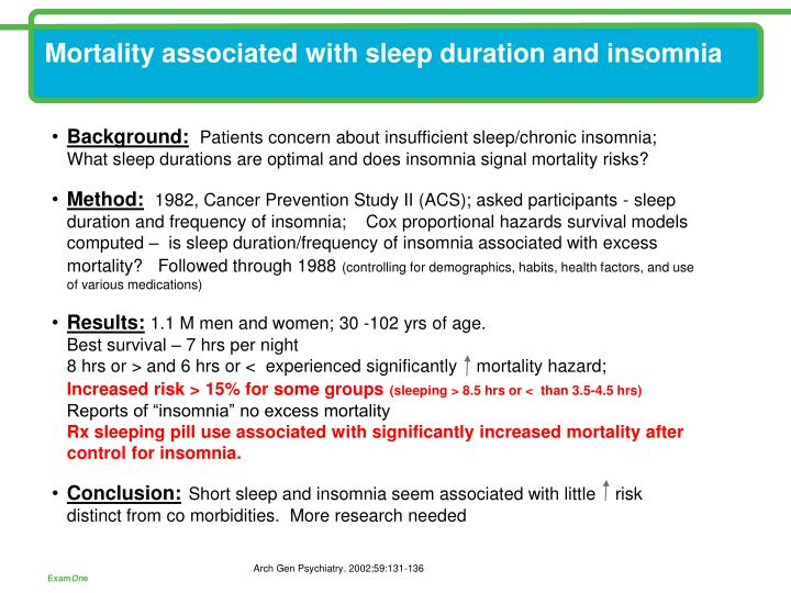 Mortality associated with sleep duration and insomnia
