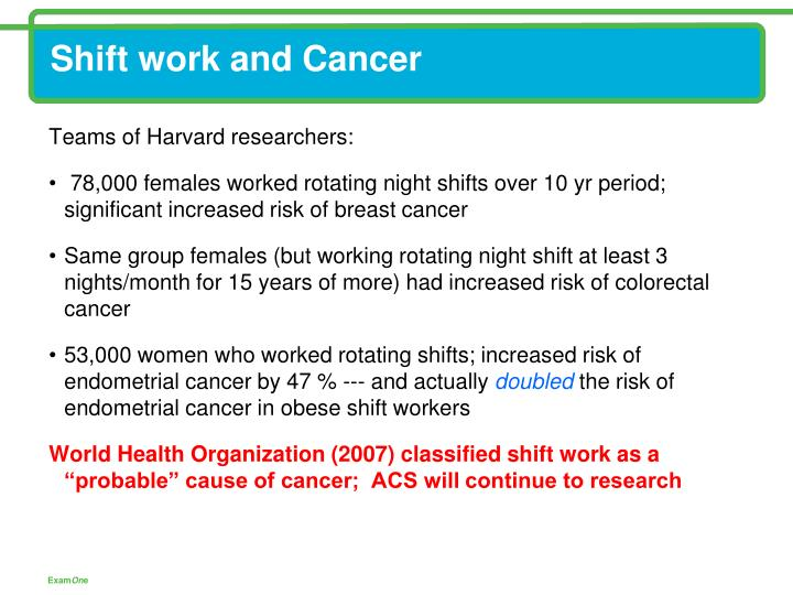 Shift work and Cancer