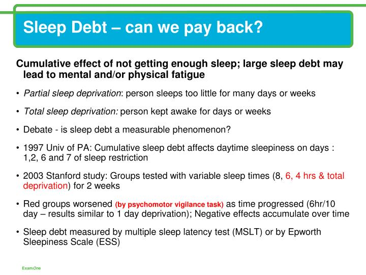 Sleep Debt – can we pay back?