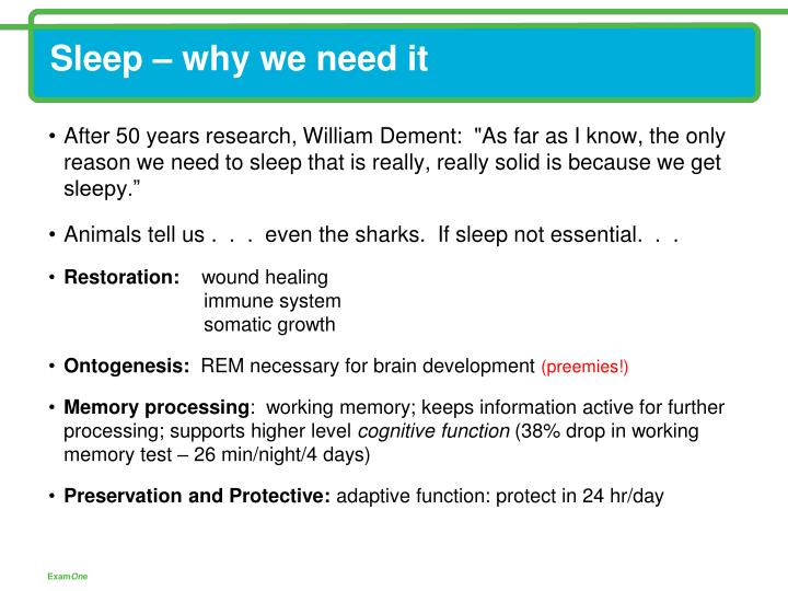 Sleep – why we need it