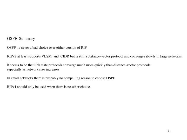 OSPF  Summary