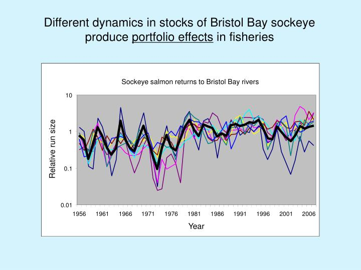 Different dynamics in stocks of Bristol Bay sockeye produce