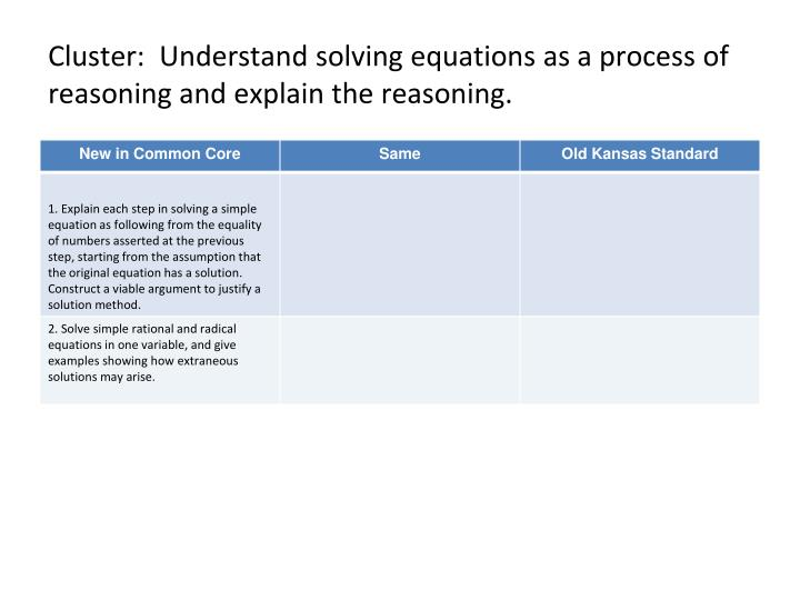 Cluster:  Understand solving equations as a process of reasoning and explain the reasoning.