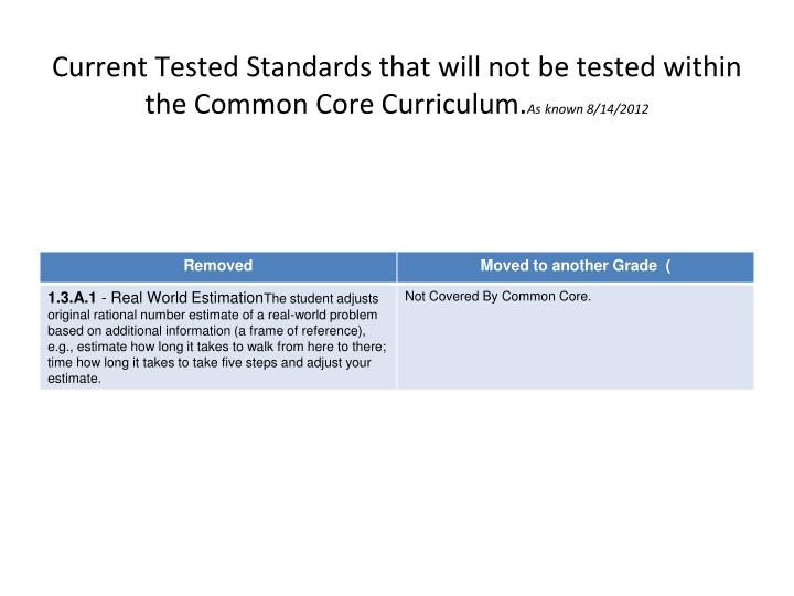 Current Tested Standards that will not be tested within the Common Core Curriculum.