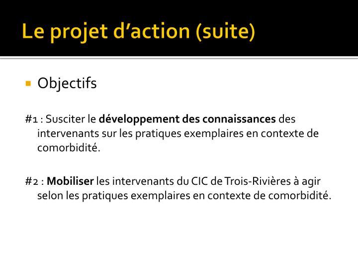 Le projet d'action (suite)