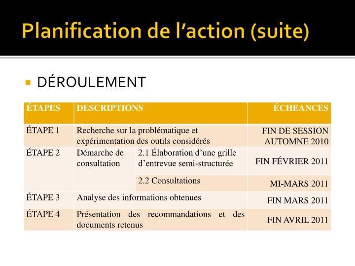 Planification de l'action (suite)