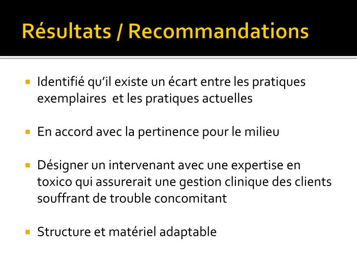 Résultats / Recommandations